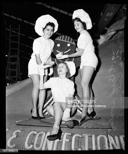 1 images 'Miss Big 10' 30 December 1955 Alive Ring 18 years Carol Goulet 20 years Suzanne Butzen 15 years Caption slip reads 'Daily *or Sunday...