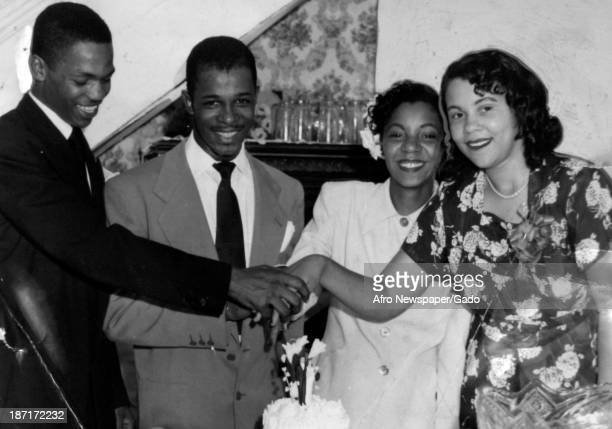 Images of African American brides and grooms on their wedding days late 1940s