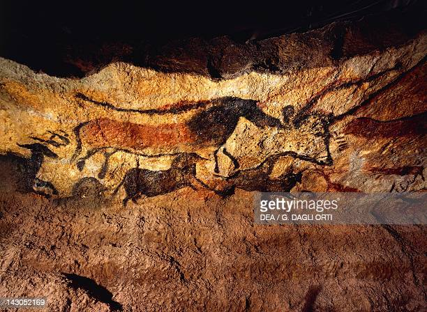 Images of animals wall painting in the Lascaux Cave Vezere Valley France Paleolithic Age 19th14th Millennium BC Saint GermainEnLaye Musée Des...