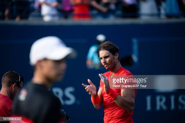 Images of championship winner Rafael Nadal of Spain applaudes his opponent finalist Stefanos Tsitsipas of Greece on Day Seven at the Rogers Cup on...