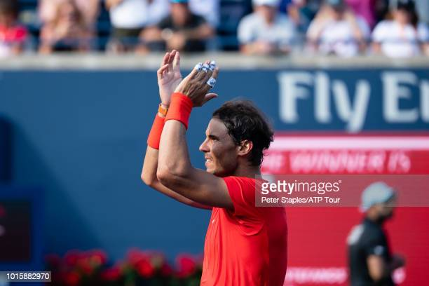 Images of championship winner Rafael Nadal of Spain applaudes the crowd after his match with finalist Stefanos Tsitsipas of Greece on Day Seven at...