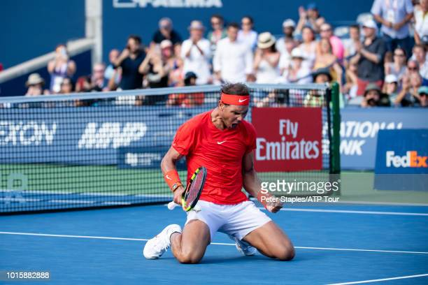 Images of championship winner Rafael Nadal of Spain celebrating afer his match against finalist Stefanos Tsitsipas of Greece on Day Seven at the...