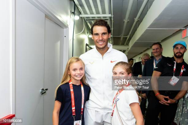 Images of championship winner Rafael Nadal of Spain with young fans on Day Seven at the Rogers Cup on August 12 2018 in Toronto Canada