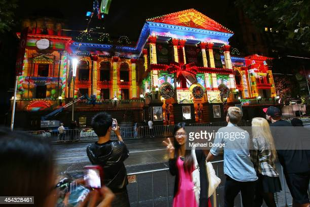 Images of Christmas are projected on to Melbourne Town Hall on December 8 2013 in Melbourne Australia