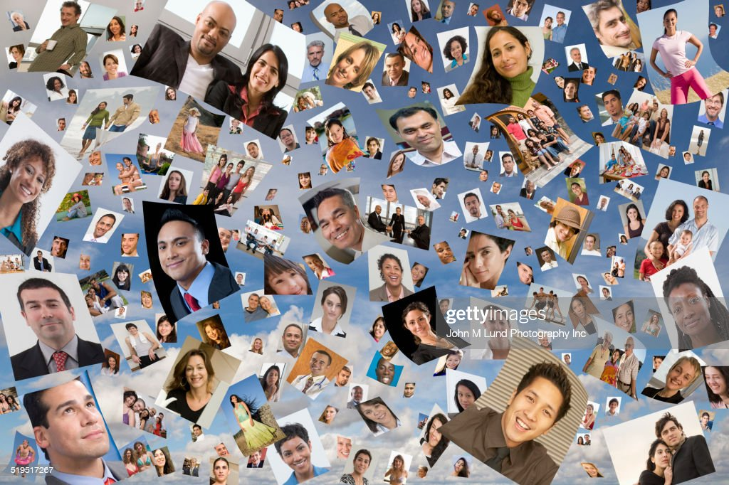 Images of faces floating in sky : Stock Photo