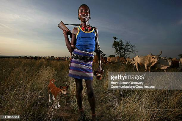 Images of Hamar herdsman on December 14 2007 in the Omo Valley South West Ethiopia