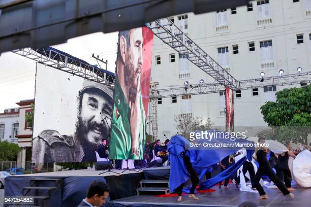 Images of late Cuban leader Fidel Castro are seen during a political act commemorating the 57th anniversary of a speech in which Castro declared the...