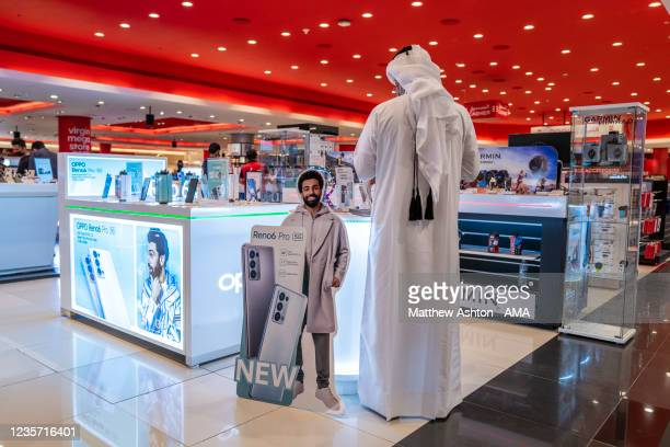 Images of Liverpool and Egypt footballer Mohammed Salah advertising the Oppo Reno6 mobile cell phone in the Villaggio Shopping Mall adjactent to the...