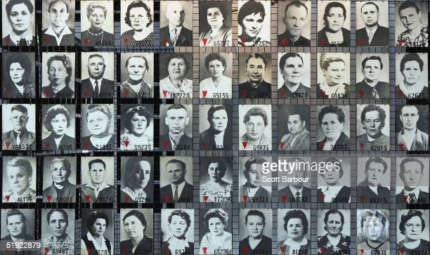 Images of men and women are seen December 8, 2004 displayed at the Auschwitz Concentration Camp Museum in Oswiecim, Poland. The camp was liberated by...