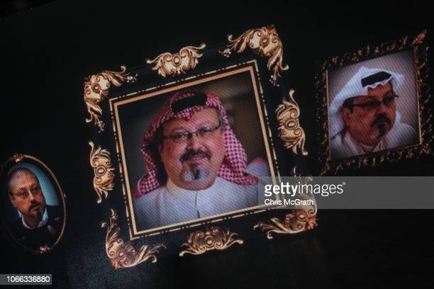 Images of murdered journalist Jamal Khashoggi are seen on a big screen during a commemorative ceremony held on November 11 2018 in Istanbul Turkey...