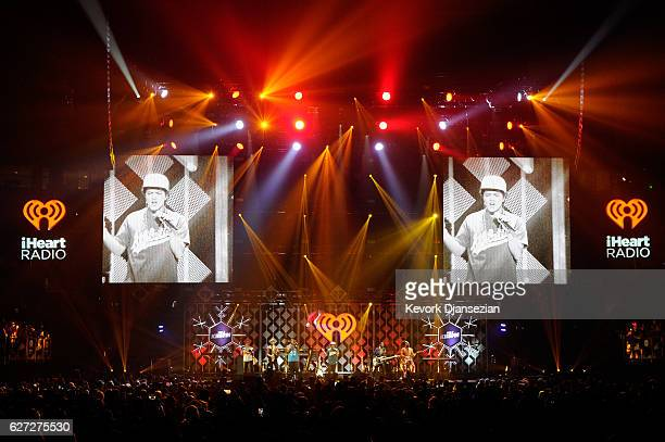 Images of recording artist Bruno Mars are projected onto video screens while he performs onstage during 1027 KIIS FM's Jingle Ball 2016 at Staples...