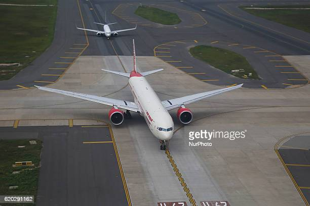 Images of the Airport of Delhi one of the busiest in the world in New Delhi India on November 2 2016 Images from the terminal apron runway aircrafts...