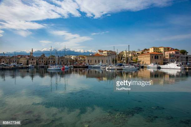 Images of the area of the old Venetian port in Chania town, the second largest in Creta island. Chania has many ancient and newer monuments in the...
