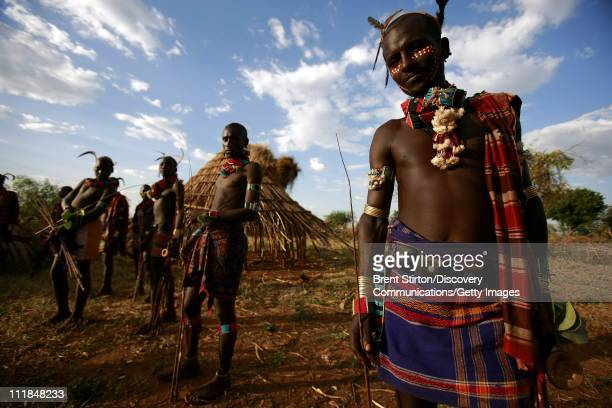 Images of the Beshadar people closely related to the Hamar tribe in a traditional bulljumping ceremony on December 14 2007 in the Omo Valley South...