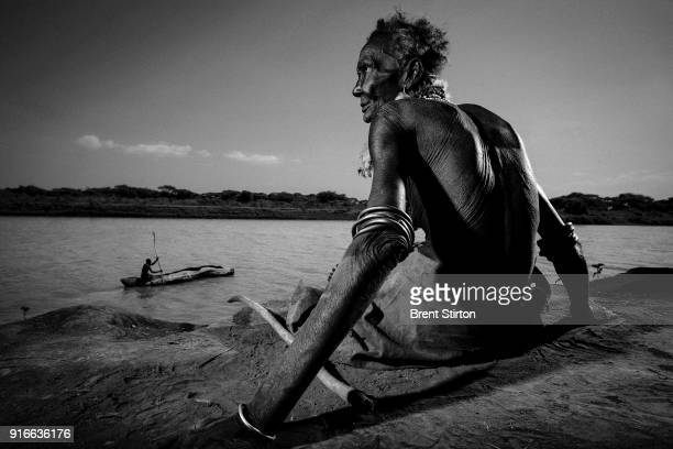 Images of the Dassanech people in the Lower Omo Valley South West Ethiopia 14 December 2007 THe Omo river source of life to over 500 000 tribesman in...