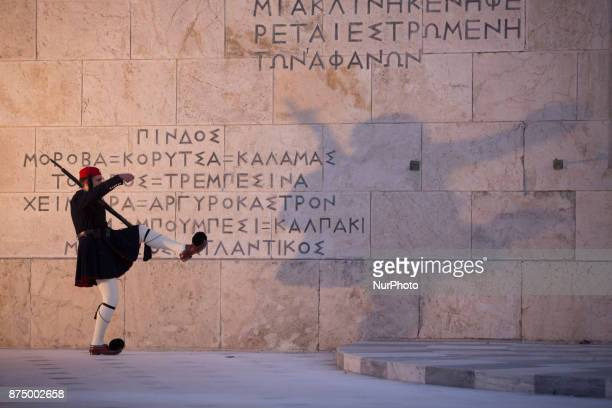 Images of the Greek parliament that used to be the Old Royal Palace overlooking Syntagma Square Athens Greece on 16 November 2017 Completed in 1843...