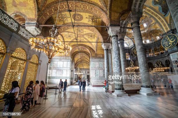 Images of the interior of Hagia Sophia or in Latin Sancta Sophia or Sancta Sapientia and in Turkish: Ayasofya is a Greek Orthodox Christian...