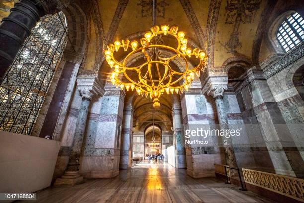 Images of the interior of Hagia Sophia or in Latin Sancta Sophia or Sancta Sapientia and in Turkish Ayasofya is a Greek Orthodox Christian Cathedral...