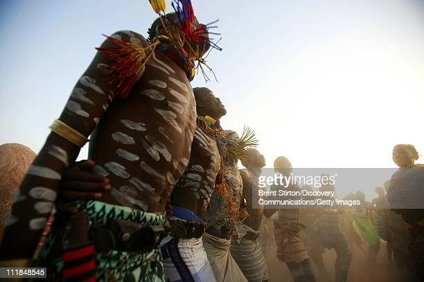Images of the Karo people in a traditional dance ceremony with both men and women on December 14 2007 in the Omo Valley South West Ethiopia