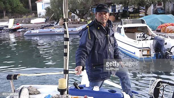 Images of the local fisherman in the tiny sea village Skala Sikamias Thanasis Marmarinos Greece on 23 January 2017 He is saving refugees since 2005...