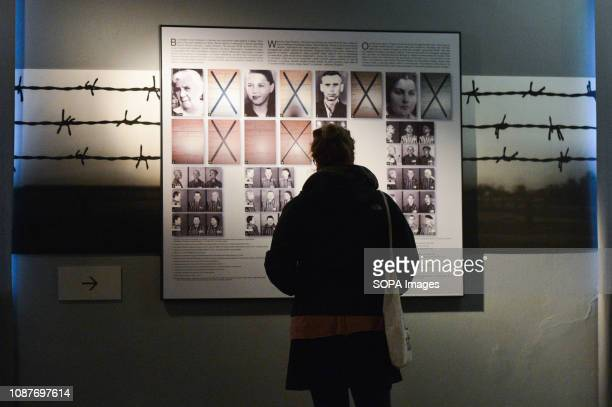 Images of the victims seen inside the museum at Auschwitz I camp. Auschwitz II-Birkenau, a German Nazi concentration and extermination camp seen just...