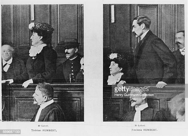 Images of Thérèse Humbert and her husband Frédèric in the dock during their trial for fraud Paris 1903 The Humbert's defence lawyer Fernand Labori is...