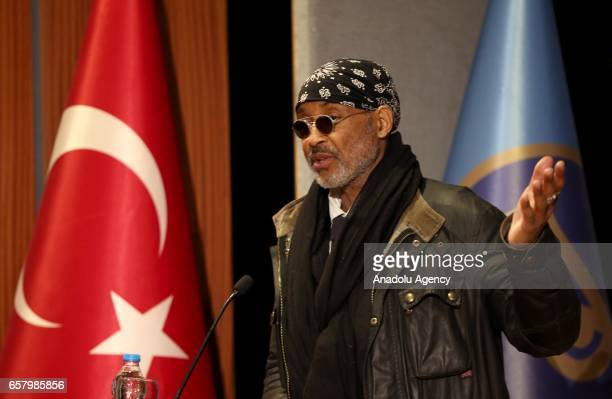 Images photojournalist Stanley Greene delivers a speech during a session named ''Istanbul Photo Awards Talks' within Istanbul Photo Awards an...