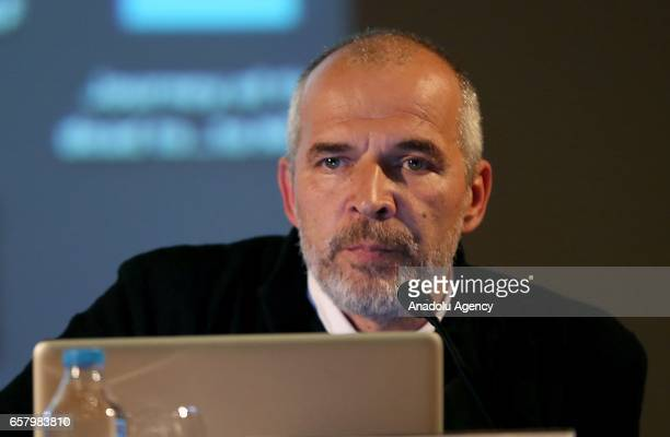 Images photojournalist Yuri Kozyrev delivers a speech during a session named ''Istanbul Photo Awards Talks within Istanbul Photo Awards an...