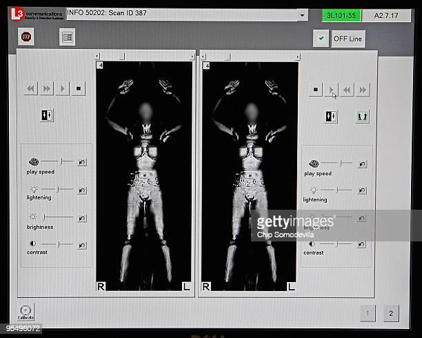 Images produced by a 'millimeter wave' scanner are displayed during a demonstration at the Transportation Security Administration's Systems...
