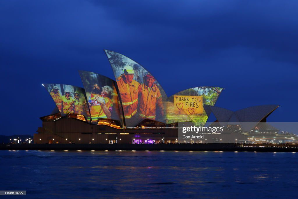 Sydney Opera House Sails Light Up In Support Of Australians Affected By Bushfires : News Photo