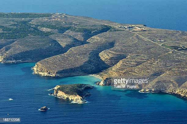 Images taken from a AB412 helicopter with the Second Regiment SIRIO of the Italian Army show an area of the coast of the Italian island of Lampedusa...