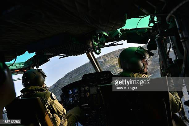 Images taken from a AB412 helicopter with the Second Regiment SIRIO of the Italian Army Italian Army units take part in the search and rescue...