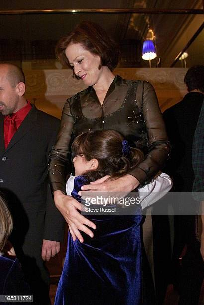 IMAGESigorney Weaver gets a huge hug from Dara Perlmutter who palys her daughter in the movie Map of the World at the pre screening party during...