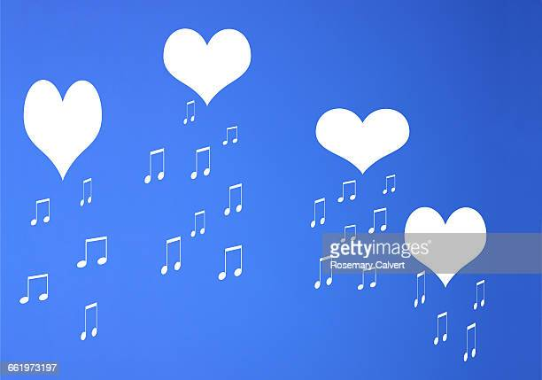 Imaginary message of love in blue sky.