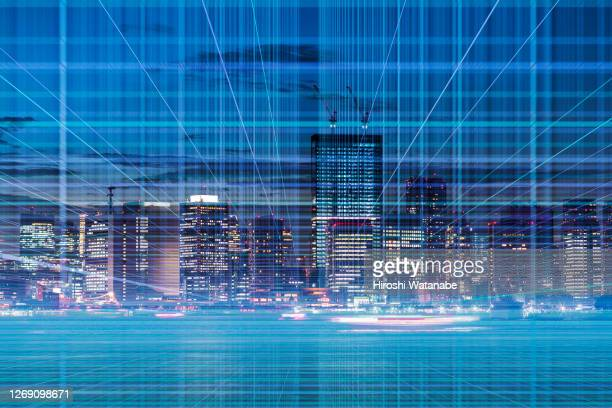 imaginary of cityscape in cyberspace night view - big data center stock pictures, royalty-free photos & images