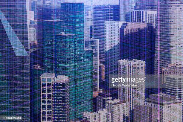 imaginary of cityscape in cyberspace - big data center stock pictures, royalty-free photos & images