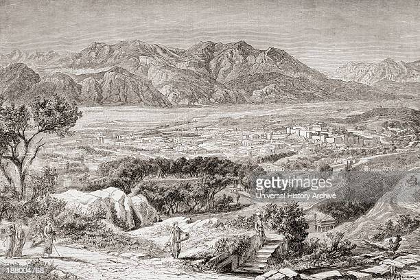 Imaginary View Of The City Of Ancient Sparta With Mt Taygetus Behind From El Mundo Ilustrado Published Barcelona 1880
