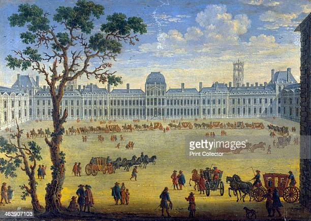 'Imaginary View of the Tuileries' 17th century A procession of coaches is forming up From the Musee du Louvre Paris