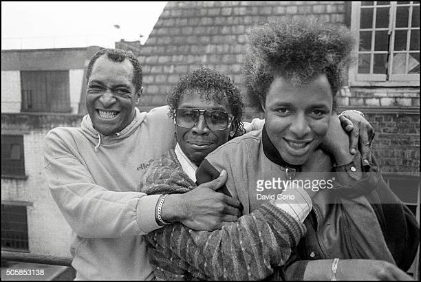 Imagination, group portrait, l-r Errol Kennedy, Leee John and Ashley Ingram in Soho, London, UK 14 May 1984.