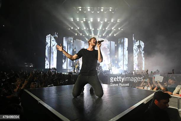TORONTO ON JULY 4 Imagine Dragons lead vocalist Dan Reynolds sings on their Smoke and Mirrors tour play the Air Canada Centre in Toronto July 4 2015
