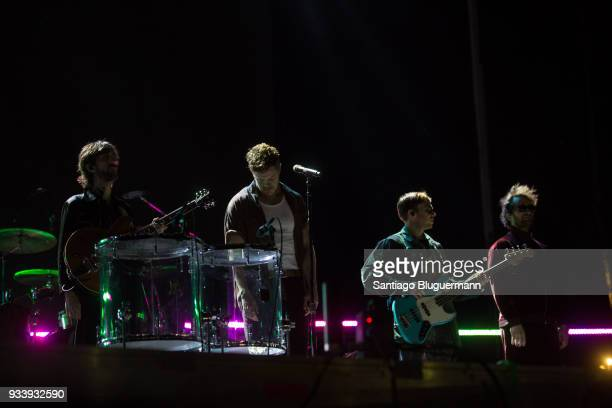 Imagine Dragons perform during the first day of Lollapalooza Buenos Aires 2018 at Hipodromo de San Isidro on March 16 2018 in Buenos Aires Argentina