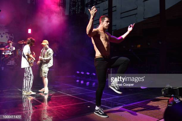 Imagine Dragons perform during their Evolve World Tour stop at Red Rocks Amphitheatre on July 16 2018 in Morrison Colorado