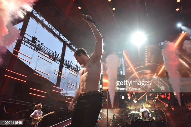 Imagine Dragons performs during their Evolve World Tour stop at Red Rocks Amphitheatre on July 16 2018 in Morrison Colorado