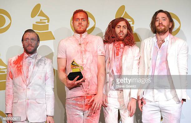 Imagine Dragons poses at the 56th GRAMMY Awards on January 26 2014 in Los Angeles California