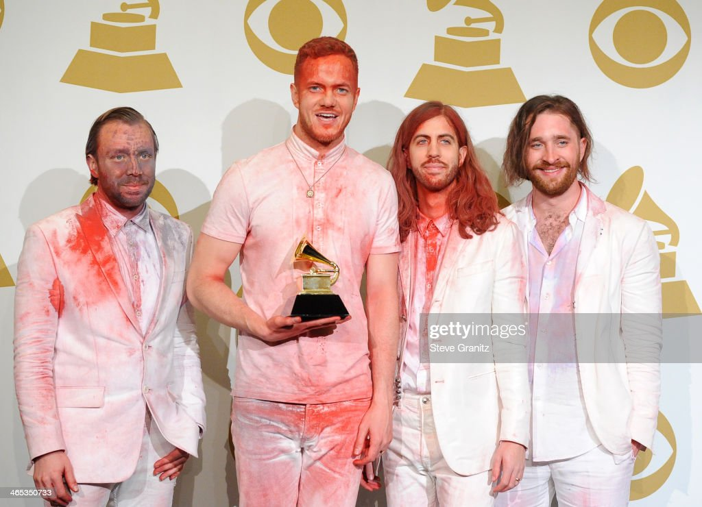 Imagine Dragons poses in the press room during th 56th GRAMMY Awards at Staples Center on January 26, 2014 in Los Angeles, California.