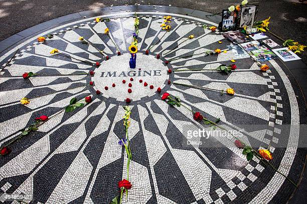 imagine mosaic - john lennons memorial stock photos and pictures