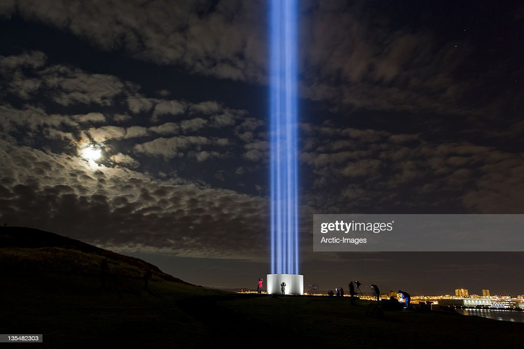 Imagine Peace tower, Videy Island, Iceland : Stock Photo