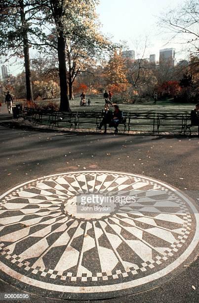 Imagine Tribute in Strawberry Fields memmorial honoring slain Beatle John Lennon Central Park