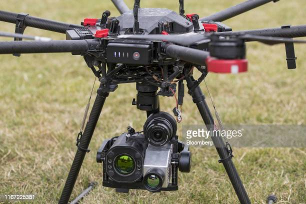 Imaging equipment sits mounted on a Precision Hawk drone targeted at on shore maintenance and checking gas leaks at a BP Plc immersive technology...