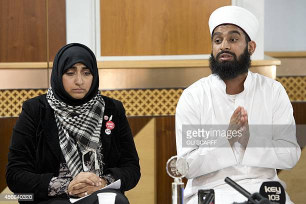 Imam Asim Hussain and doctor Shameela IslamZulfiqar who traveled with aid worker Alan Henning on humanitarian missions to Syria speak during a press...